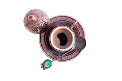 Cup of freshly brewed hot frothy Turkish coffee Royalty Free Stock Photography