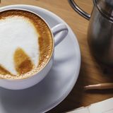 Cup of freshly prepared coffee close-up stock images