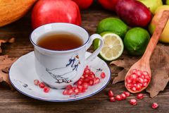 Cup of fruit tea and ruby pomegranate seeds Stock Photography