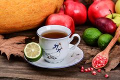 Cup of fruit tea and ruby pomegranate seeds Royalty Free Stock Photos