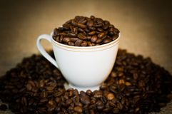 The cup full of the coffee. Stock Image