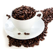 Cup full of coffee beans. White Cup full of coffee beans Royalty Free Stock Photo