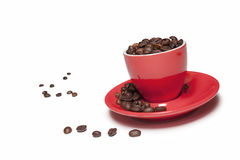 A cup full of coffee beans Royalty Free Stock Photography