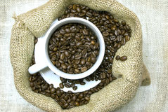 Cup Full Of Coffee Beans In Burlap Bag Stock Images