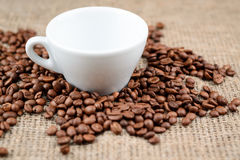 Cup full of coffee beans on the cloth sack background.  Stock Photography
