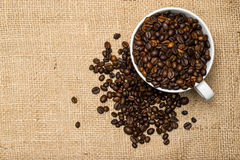 Cup full of coffee beans over cloth background Stock Images