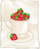 Cup full of fresh strawberries on background Stock Images