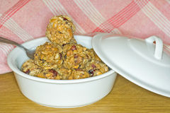 Cup full of nuts raisin and oat balls Stock Photo