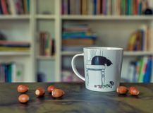 Cup of fun tea with acorns on the table royalty free stock photo