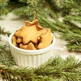 Cup of ginger biscuits. Christmas tree. NewYear.  royalty free stock photo