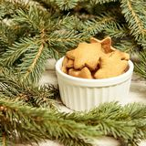 Cup of ginger biscuits. Star. NewYear. Christmas tree.  stock photography