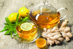 Cup of ginger tea with honey and lemon Stock Photography