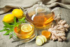 Cup of ginger tea with honey and lemon Stock Photo