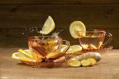 A cup of ginger tea with lemon Stock Photo