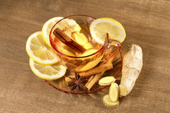 A cup of ginger tea with lemon Royalty Free Stock Image