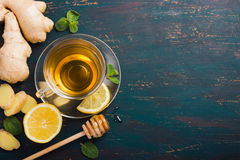 Cup of Ginger tea with lemon and honey Royalty Free Stock Image