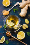 Cup of Ginger tea with lemon and honey Stock Photo