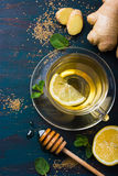 Cup of Ginger tea with lemon and honey Stock Image