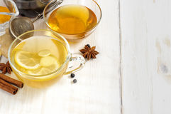 Cup of ginger tea with lemon and honey Stock Photos
