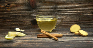 Cup of Ginger tea with lemon. Stock Photos