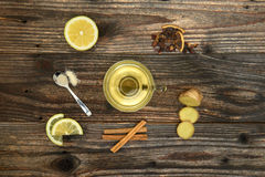 Cup of Ginger tea with lemon. Royalty Free Stock Images