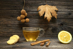 Cup of Ginger tea with lemon. Royalty Free Stock Image