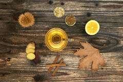 Cup of Ginger tea with lemon. Stock Photography