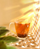 Cup glass of black tea on a wooden background. Morning, sunny an Stock Photos