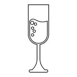 Cup glass champagne love celebration outline Stock Photography