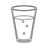 Cup glass coffee caffeine drink thin line. Vector illustration eps 10 royalty free illustration
