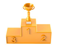 Cup on golden podium Stock Photo