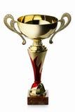 cup Goldener Cup des Siegers lokalisiert auf weißem Hintergrund Lizenzfreie Stockfotos