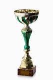 cup Goldener Cup des Siegers lokalisiert auf weißem Hintergrund Stockfotografie
