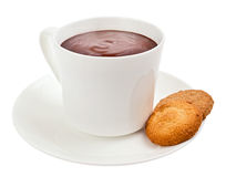 Cup of gourmet hot chocolate with cookies. Hot steaming chocolate in a white cup with two cookies Stock Photos