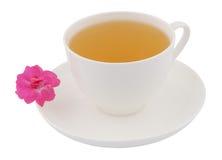Cup grüner Tee mit rosafarbener Blume Stockbild