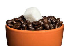 Cup with grains of coffee and a piece of sugar Royalty Free Stock Photography