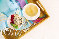 Cup of granola with yogurt and fruit Royalty Free Stock Photo