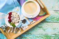 Cup of granola with yogurt and fruit. On turquoise background Stock Images