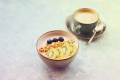 Cup of granola with yogurt and fruit Stock Photography