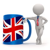 Cup with Great Britain flag and small character Royalty Free Stock Photo