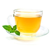 Cup of green chamomile tea with mint Royalty Free Stock Photo