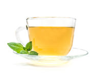 Cup of green chamomile tea with mint Stock Photos
