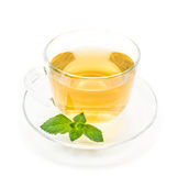 Cup of green chamomile tea with mint Stock Photography