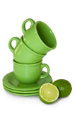 Cup , with green lime. Royalty Free Stock Photo