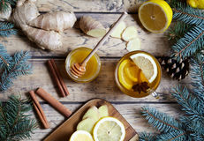 Cup of green natural ginger tea with lemon and honey. Healthy drink. Hot winter beverage concept. Royalty Free Stock Image