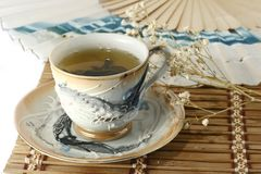Cup of green tea. And china fan Stock Photography