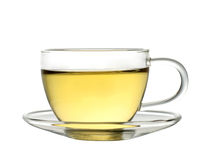 Cup of green tea. A cup of green tea isolated on a white background Stock Photos