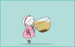 Cup of green tea. Vector illustration of girl with giant cup of green tea Stock Photography