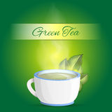 Cup of green tea background - vector Royalty Free Stock Image