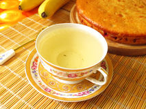 Cup of green tea. And cake with cranberries Stock Image